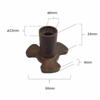 Piñon arrastre para plato microondas Panasonic 6 mm diametro 24 mm altura diametro