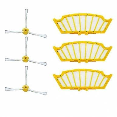 Pack 3 Filtros y 3 Cepillos laterales para Roomba Serie 500