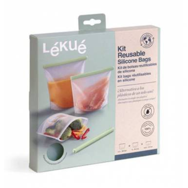 Kit de 3 bolsas reutilizables de silicona Lékué